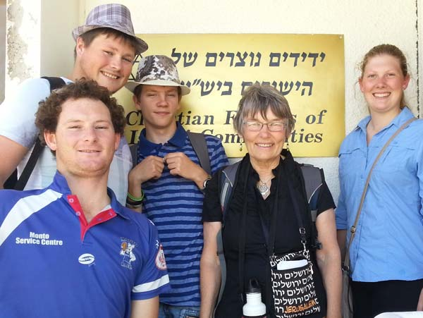 Joy Heylen with tour pilgrims