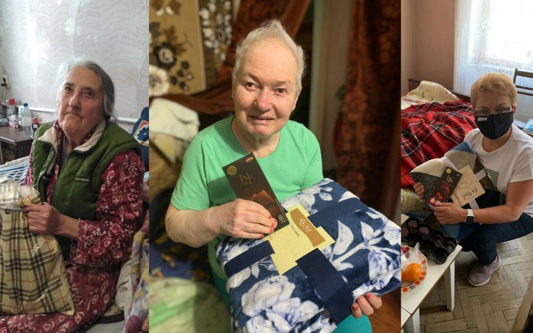 Sponsored Holocaust Survivors receiving their timely gifts of food, clothing and personal care