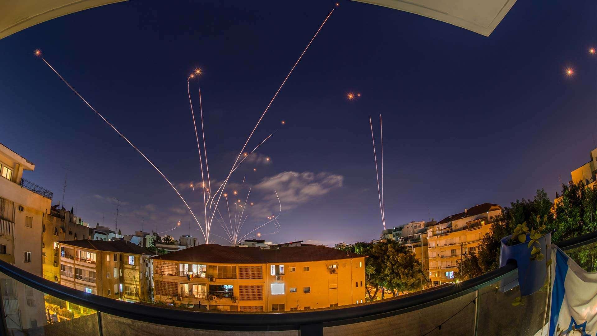 Iron Dome Rocket Interceptions of Hamas Rockets