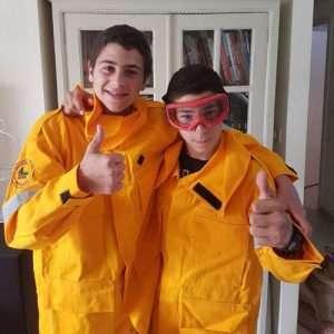 Israeli Boys with Fire Jackets
